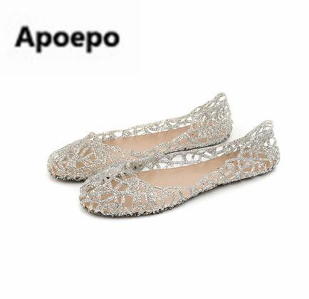 Apoepo brand bling bling women jelly shoes sliver cut-out casual beach shoes Breathable summer flats sandals ladies 2018 women jelly shoes candy sandals luxury brand summer beach flats bowknot shoes casual lady fashional envirionmental shoes female