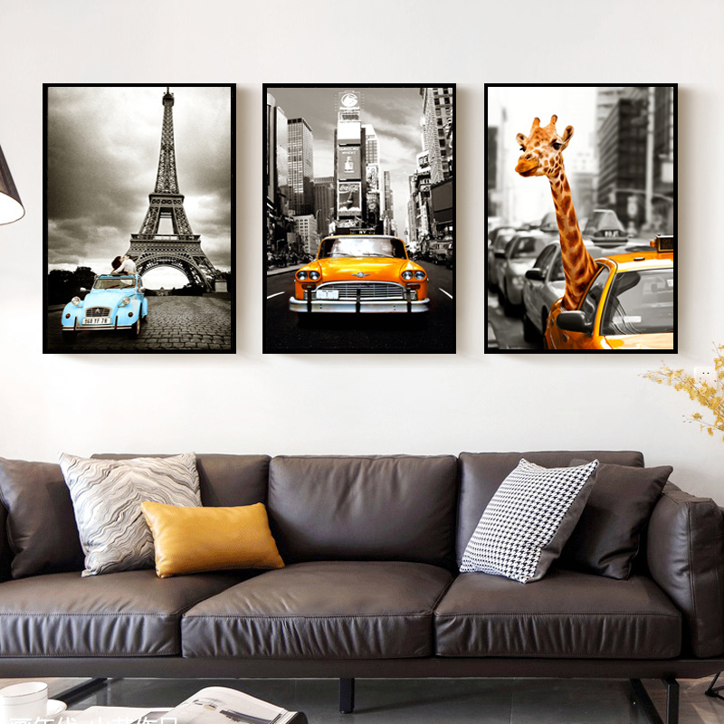 SURELIFE Vintage Car City Giraffe Prints Canvas Paintings Abstract Wall Art Pictures POP Poster for Living Room Home Decorative