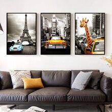 SURELIFE vintage coche ciudad jirafa cuadros en lienzo impresos pared abstracta imágenes artísticas POP Poster para sala de estar hogar decorativo