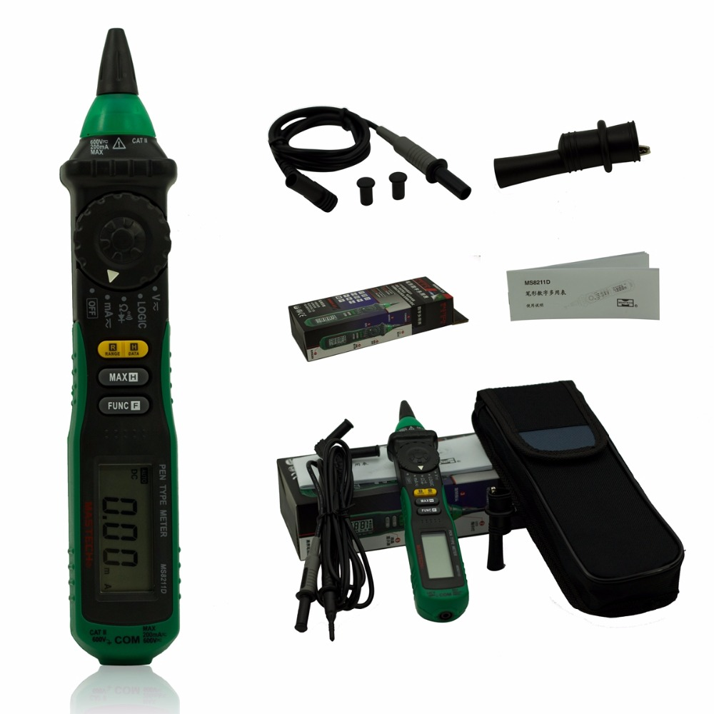 цена на MasTech MS8211D Pen-Type Digital Multimeter with Test leads AC DC Volt Amp with Resistance Ohm Multi Voltage Current Tester