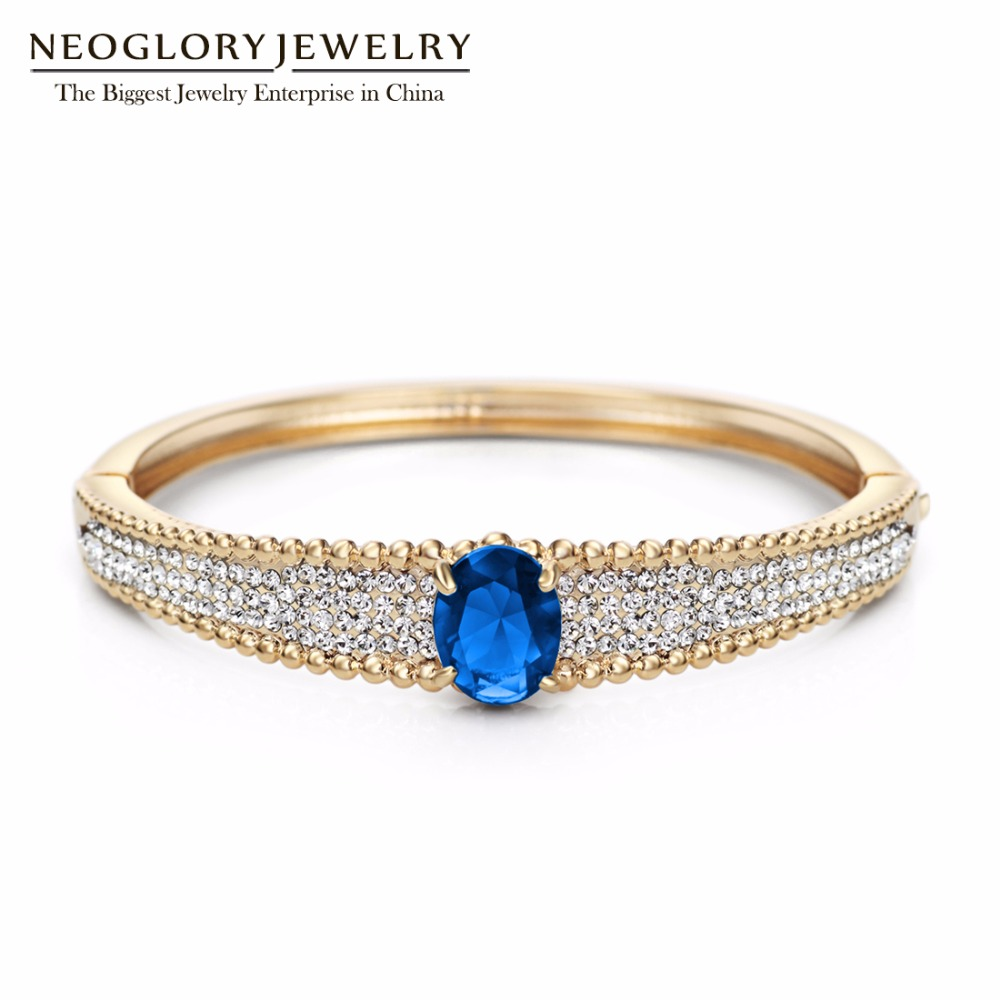 Neoglory Light Yellow Gold Color Rhinestone Green Zircon Fashion Bangle  Bracelet for Women Charm Jewelry 2018 Fashion Accessory-in Bangles from  Jewelry ... aa511f2c5cd3