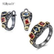 2 шт/комплект Винтажные серьги и кольцо с голубым оливином красным