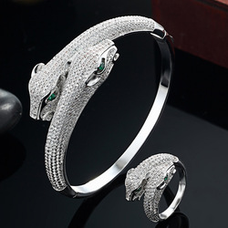 Brand Two leopard Animal Bangle and ring Jewelry sets For Men Jewelry Perfect AAA Cubic Zircon Bangles Silver Color couple bijou