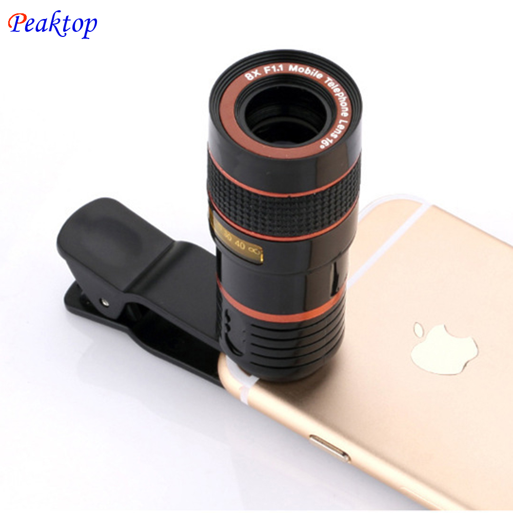 Universal 8X Zoom HD Optical Telescope Lens Digital Zoom With Clip for Samsung for HTC Mobile Cell Phone Camera Black Portable - intl