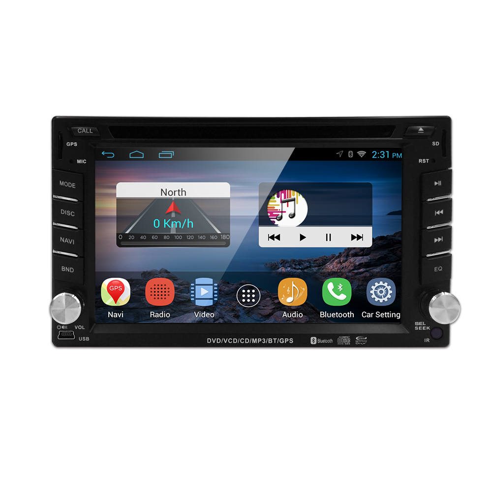 Free shipping QuadCore Android 4.4 car dvd 2din universal Car DVD Player double din Stereo GPS Navigation car radio android 2din