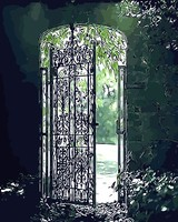 Fantasy Gate Oil Painting Abstract Old Door Picture By Number Digital Picture Coloring By Hand Unique