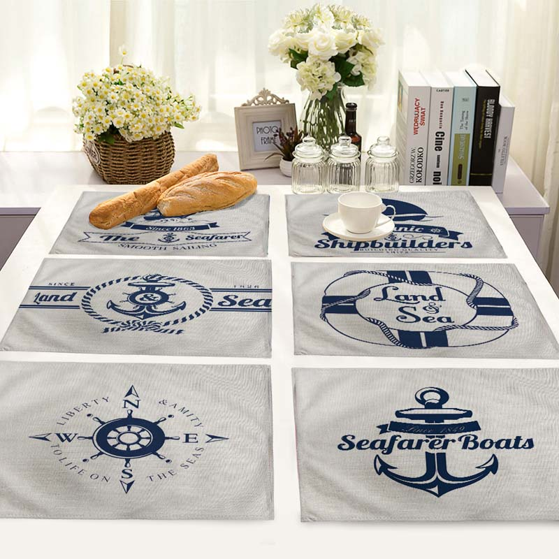 Sailing printed picture Table Napkins Placemat Kitchen Decoration Dining Accessorie 42*32cm MS0018