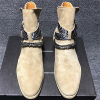 Vintage khaki pointed toe fashion buckle strap formal men boots business travel low heel banquet Boots