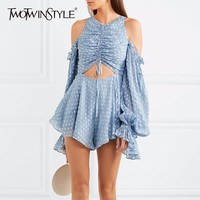 TWOTWINSTYLE Chiffon Playsuits For Women Print Off Shoulder Lantern Sleeve Draw String High Waist Crop Top