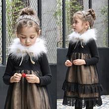 Зимой 2016 новых Корейских детей Девочек Принцесса Платье Девушки с кашемир шерсть воротник кланового утолщение бесплатная доставка