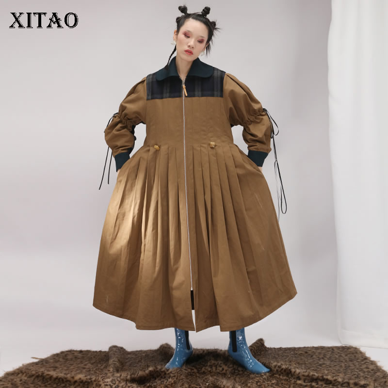 [XITAO] Fashion Women 2018 Autumn Solid Color Loose Coat Female Turn-down Collar Full Sleeve Patchwork Pleated   Trench   ZLL2418