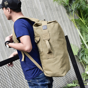Image 5 - 대용량 배낭 남자 여행 가방 등산 배낭 남자 짐 캔버스 양동이 어깨 가방 남자 배낭