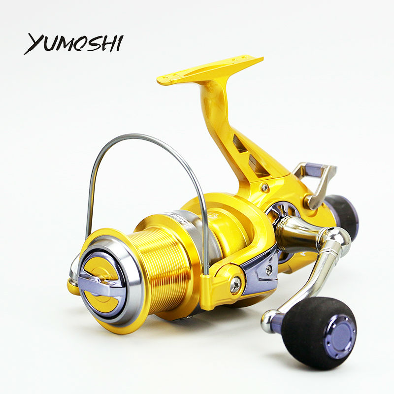Yumoshi Metal Carp Spinning Fly Fishing Reels Baitcasting Reel Moulinet Peche Hand Brake Fishing Wheel KM50 KM60 Coil trolling reel 9 1bb drum wheel carp baitcasting reels centrifugal brake casting saltwater fishing reel super power drag 30kg