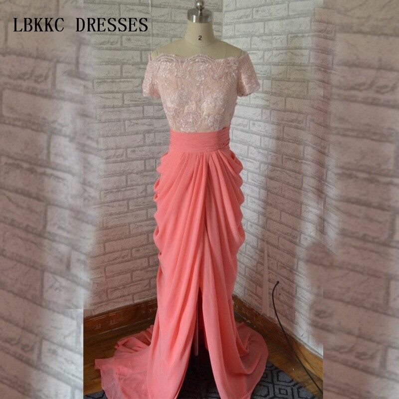 Халат De Soiree 2017 вечернее платье кораллового цвета платье русалка с вырезом лодочкой Топ розовый кружевной Праздничное платье Longo шифоновая ю