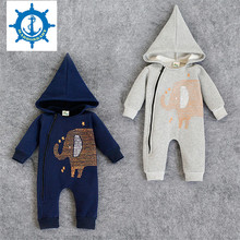 Hot Selling Newborn Thickening Rompers Baby Boys Cotton Velvet Elephant Style Climbing Clothing Infant Cartoon Warm HB028