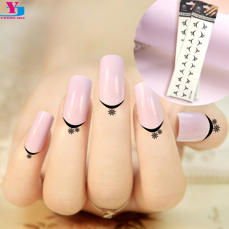 12 Sheet Star French Design Cuticle Tattoos Water Transfer Nail ...