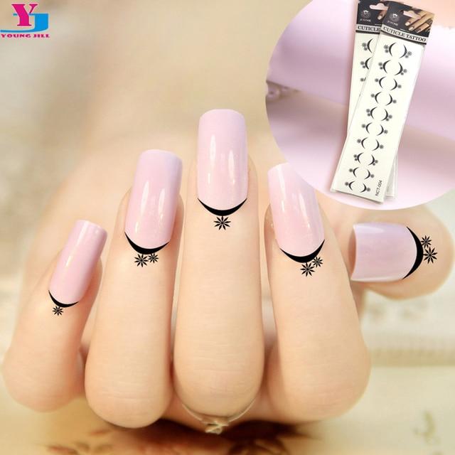 12 Sheet Star French Design Cuticle Tattoos Water Transfer Nail ...