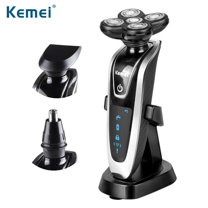 Kemei бритва новый 3 in1 стирать аккумуляторные электробритвы тройной нож бритвенные станки мужчин уходу за лицом 5D плавающей KM-5886