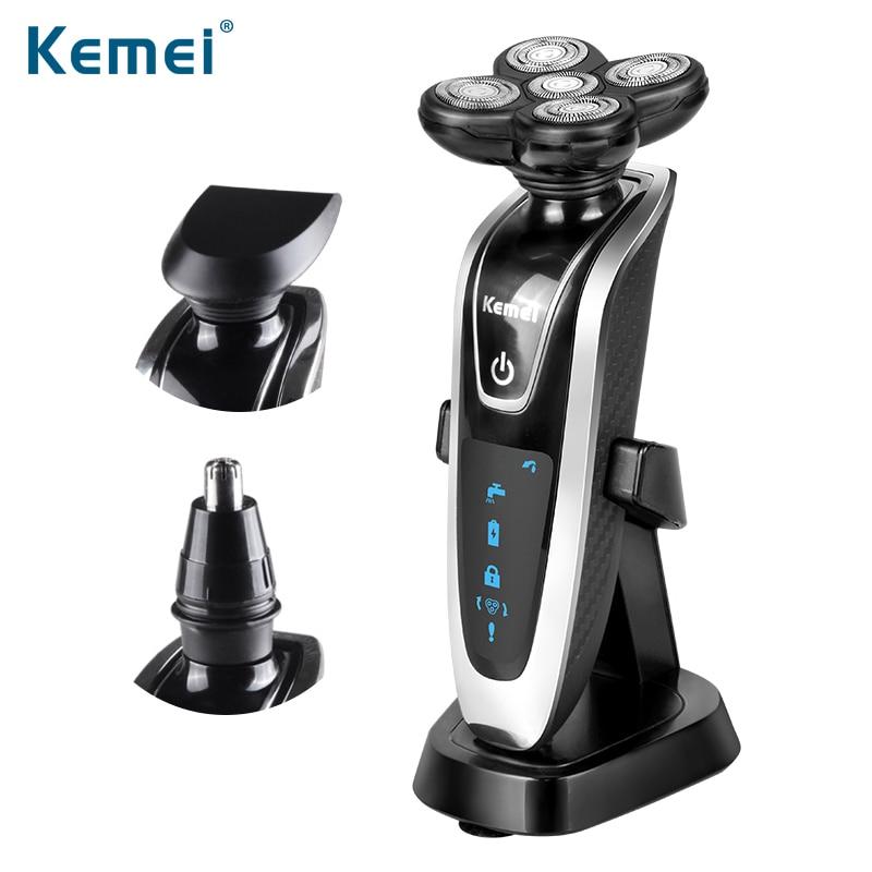 Kemei5886 Nueva 3 in1 Lavable Recargable Afeitadora Eléctrica de Triple Cuchilla de Afeitar Eléctrica Maquinillas de Afeitar Hombres Cuidado Facial 5D Flotante