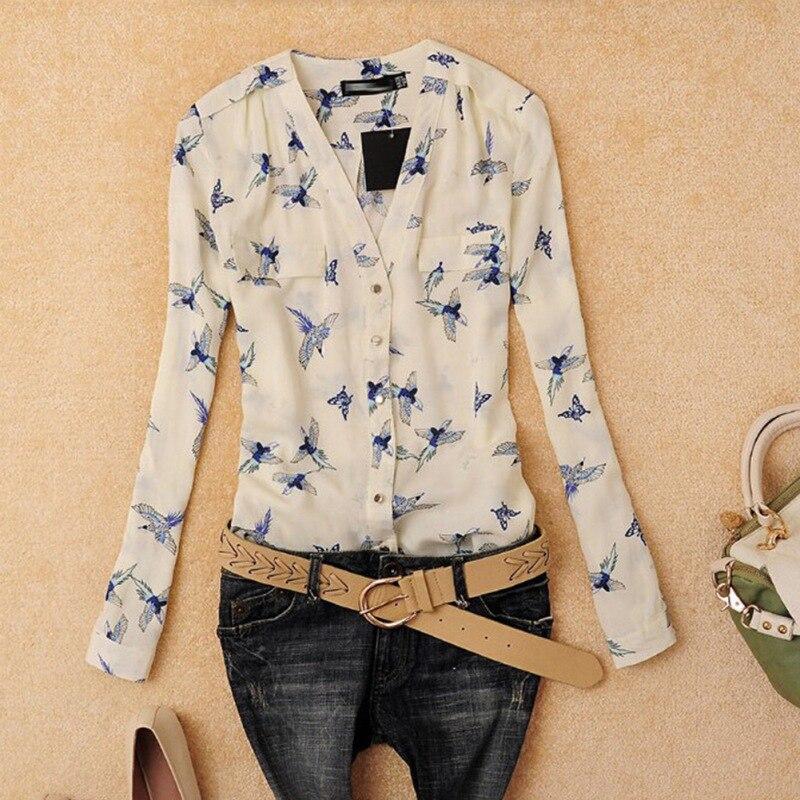 Jlong Elegant Women's V-Neck Long Sleeve   Shirt   Women 2018 Chiffon   Blouse     Shirts   Print Slim Top Female z1