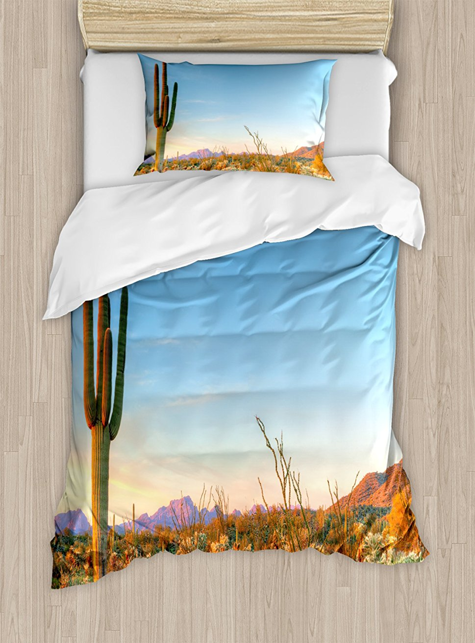 Duvet Cover Set , Sun Goes Down in Desert Prickly Pear Cactus Southwest Texas National Park, 4 Piece Bedding Set