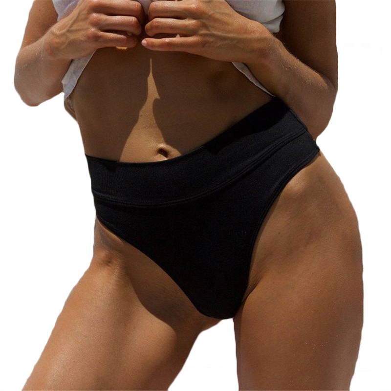 2019 Women Vintage Bikini Panties High Waist Swimwear Bottom Solid Color Female V Cheeky Swimsuit Briefs Beachwear Bathing Suits in Two Piece Separates from Sports Entertainment