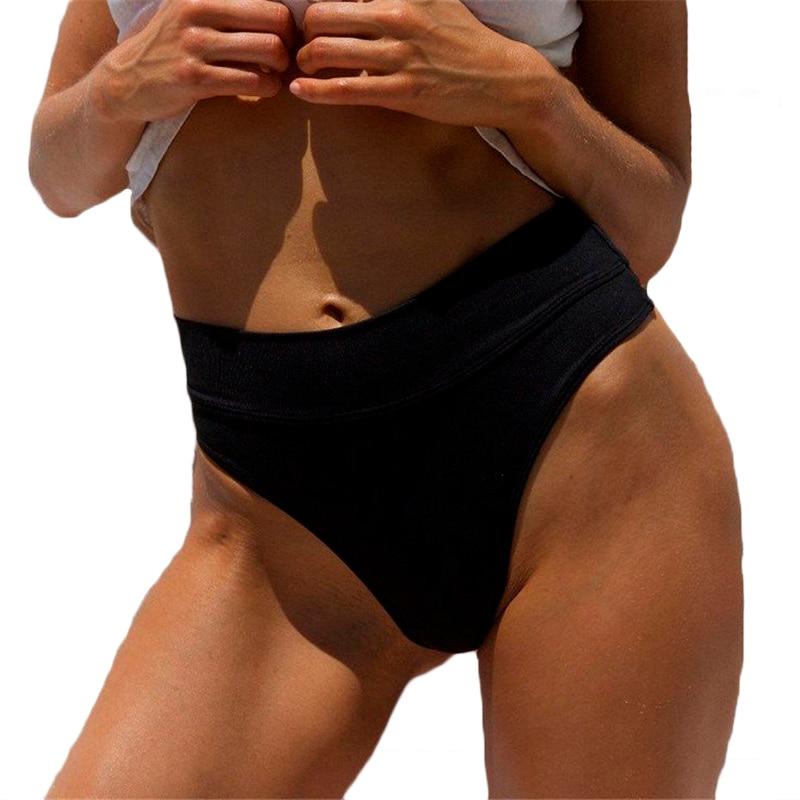 2019 Women Vintage Bikini Panties High Waist Swimwear Bottom Solid Color Female V Cheeky Swimsuit Briefs Beachwear Bathing Suits