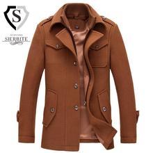 Новый 2017 осень/зима мужская мода бренд M-3XL плюс Размер толстые шерстяные Теплые Пальто Стоять Воротник w1718 бесплатная доставка