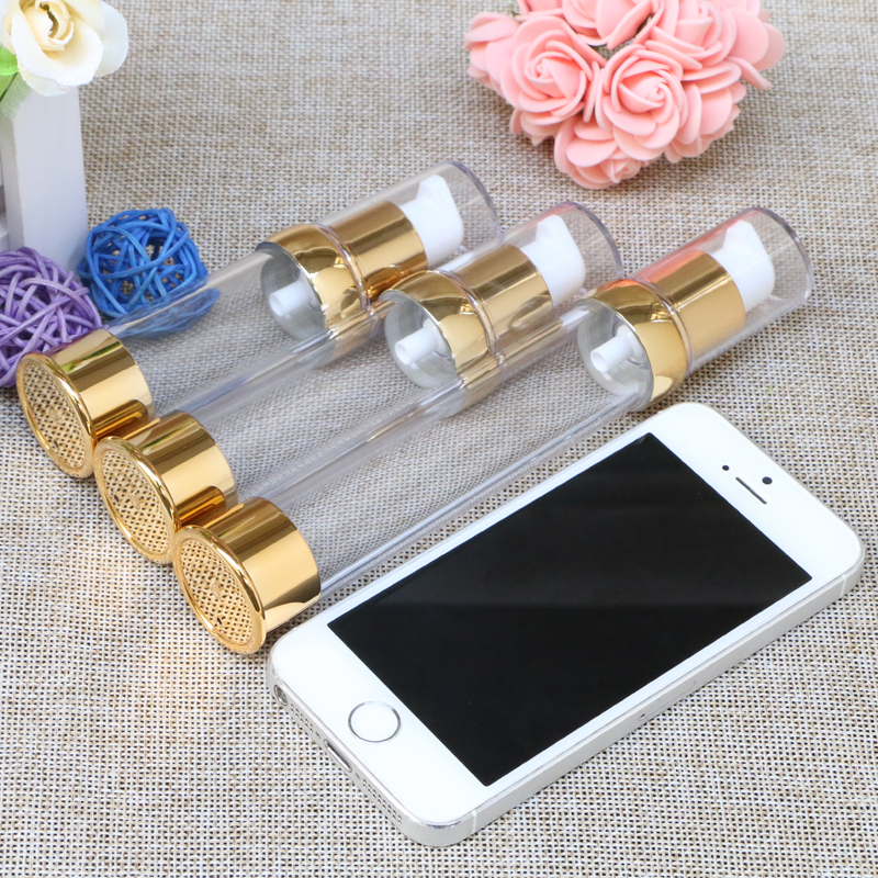 Купить с кэшбэком Travel Mini 15ml 20ml 30ml Gold Airless Bottles Cosmetic Container Plastic Empty Refillable Bottle 100pcs/lot