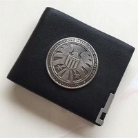 Agents of Shield S.H.I.E.L.D. Metal Badge Hail Hydra Red Skull Pin Leather Case Holder Wallet Resident Evil Stars Police