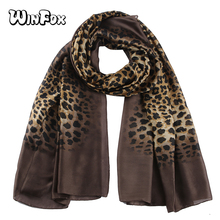 Winfox Vintage Black Leopard Silk Scarf Women Shawl Foulard Ladies Fashion Animal Print Head Hijab Scarves