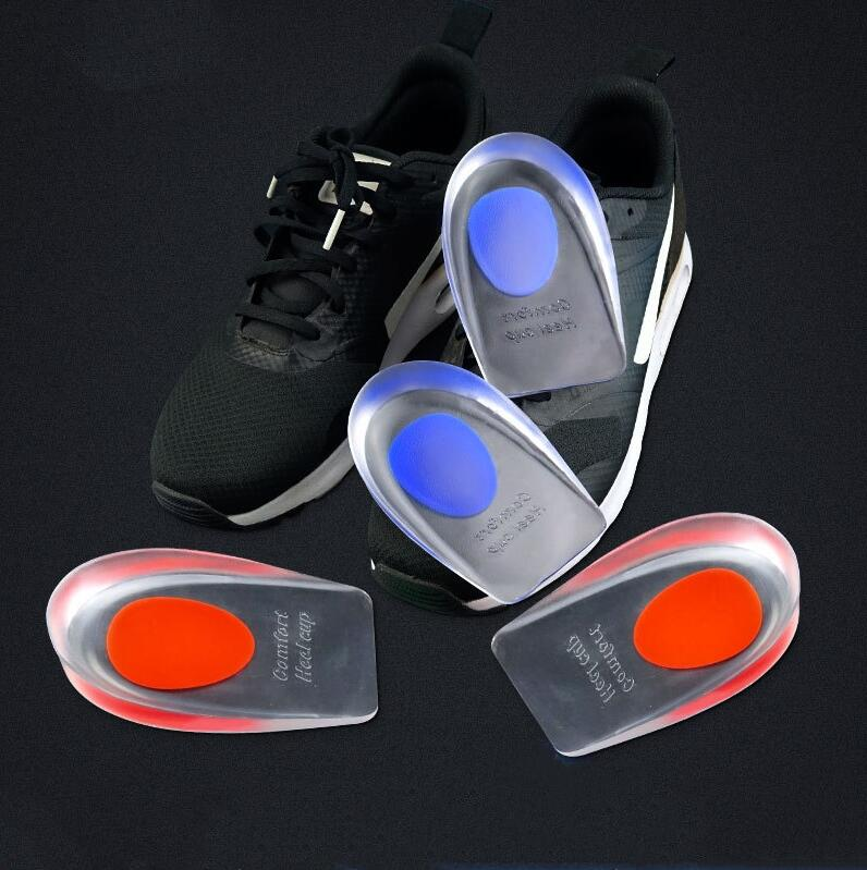1 Pair Unisex Shoes Heel Cushion Insoles Soles Silicon Gel Red Blue Relieve Foot Pain Heel Cup High Heel Inserts