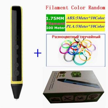 Новые Дизайн 3D ручка с голосом трансляции + 100 м (10 цветов) 3D нити DC 5 В 2A USB зарядка 3D граффити ручка Детские best подарки