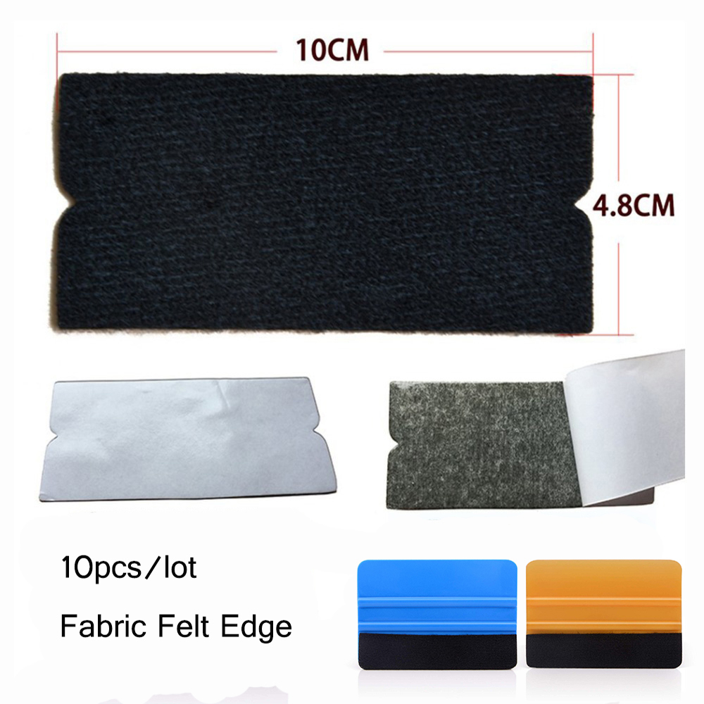 FOSHIO 10pcs Spare Fabric Felt Edge For All 10cm Squeegee Carbon Fiber Scratch-less Cloth Car Film Wrap Window Tint Tools Felt