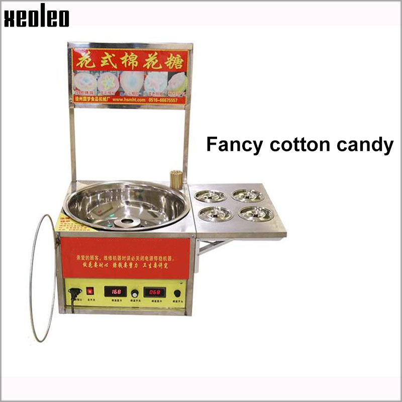 Xeoleo Commercial Electric Cotton candy machine Fancy Cotton candy maker Electric Candy floss machine 1030w electric commercial cotton candy maker fairy floss machine stainless steel pink