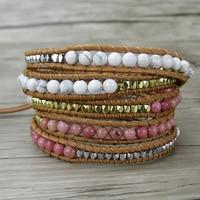 White beads bracelet Boho wraps beads bracelet Pink Stone Bracelet yoga jewelry bhemian