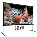 2 Sets 150 Inch 16:9 Front Fast Folding Projection Screen With 1Piece 180inch 16:9 Front Screen Fabric, NO Flightcase