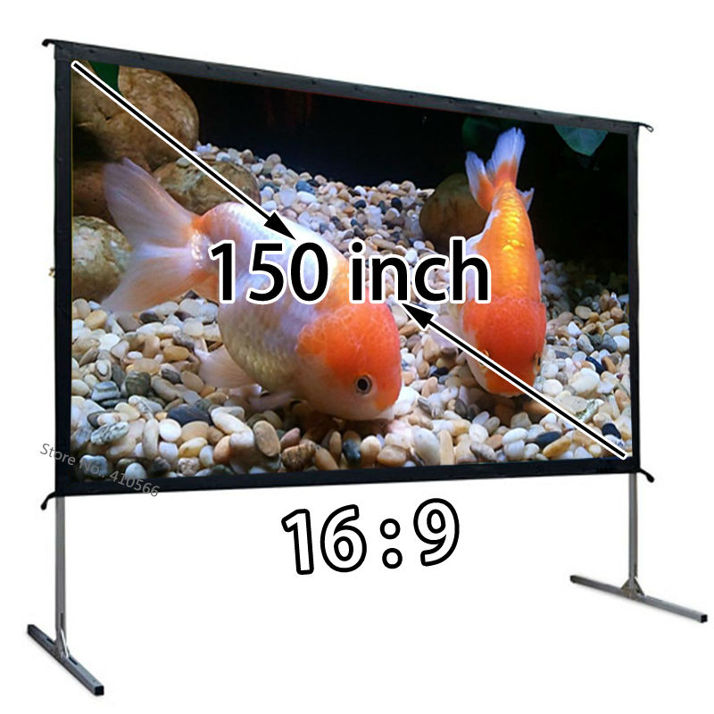 Floor Stand Large 150 Inch Projection Screen With Portable Carry Case Quality Foldable Projector Sceens For Office Party Show