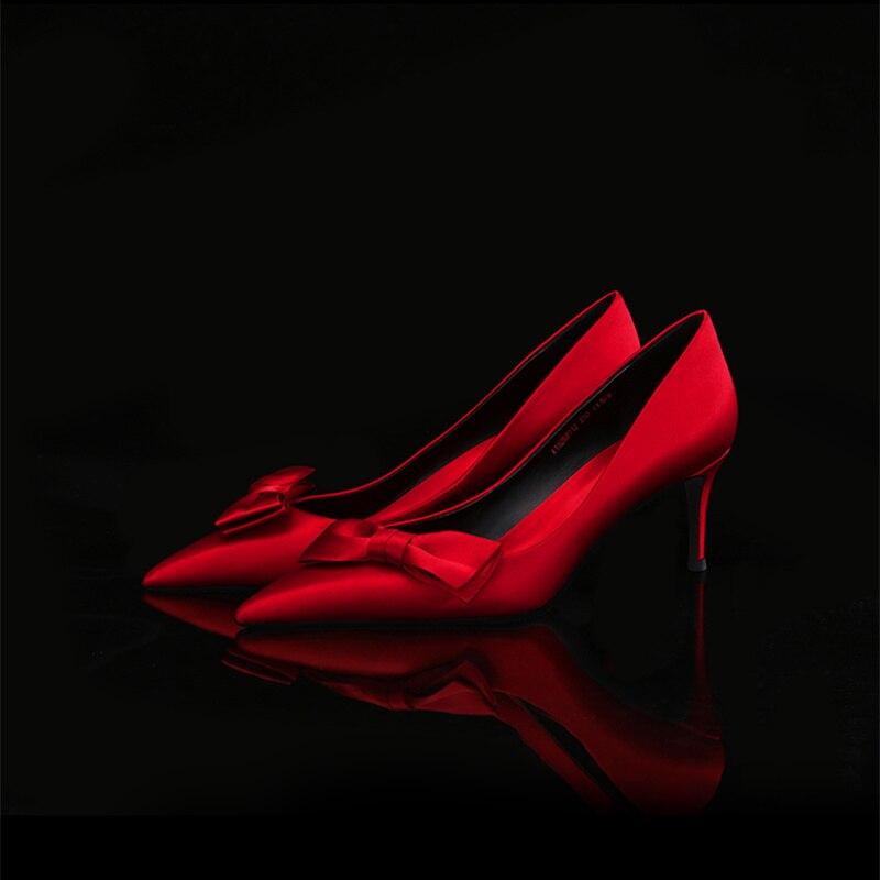 Pointu 6 Cm Talons Taille Mariage Printemps Nouveau Cm Pumpus 6 Dames 5 Carrière Cm De 10 Ol 5 Bout rose À Hauts 2019 Femme Rouges Grande assorties Femmes Chaussures pqzZUz4w