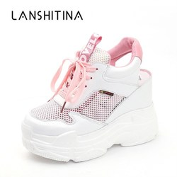 Повседневная обувь; Женская обувь на плоской подошве; Сетчатая дышащая обувь на танкетке и каблуке 11 см; Летние кроссовки; Zapatillas Deportivas Mujer