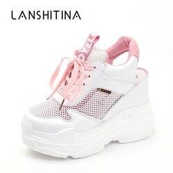 Повседневная обувь; женская обувь на плоской подошве; сетчатая дышащая обувь на платформе и танкетке; летние кроссовки 11 см; Zapatillas Deportivas Mujer
