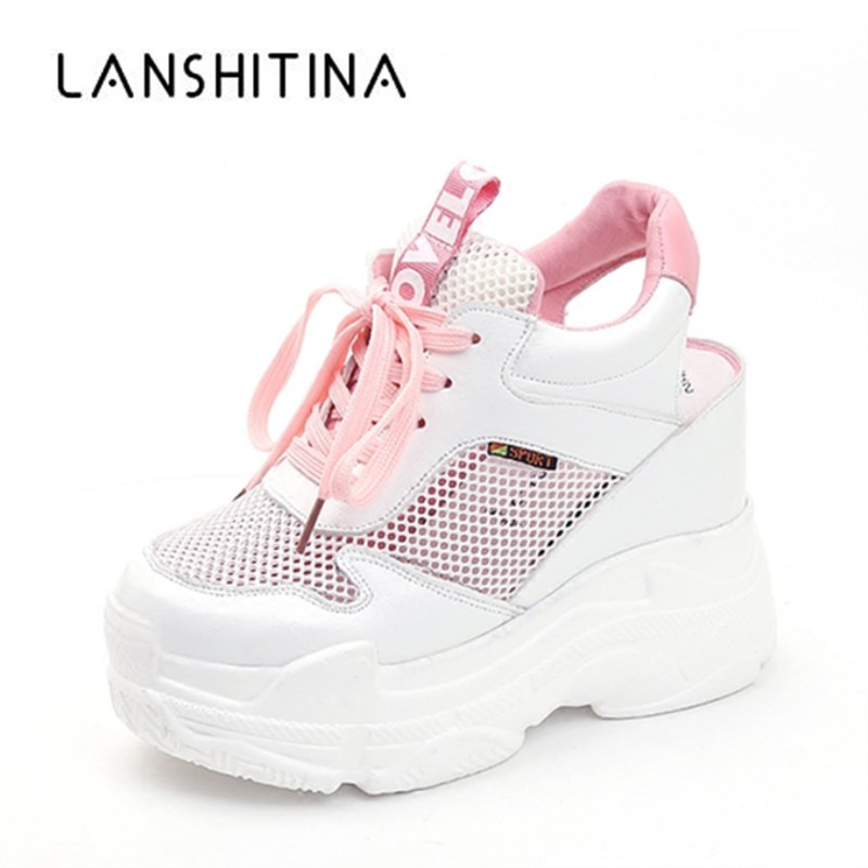 цены Casual Shoes Women's Flats Shoes Mesh Breathable Platform Wedge Heels Shoes 11cm Summer Sneakers Zapatillas Deportivas Mujer