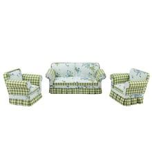 цена на Doll miniature furniture 1/12 scale Fabric Pastoral style Sofa and chair 3pcs Set