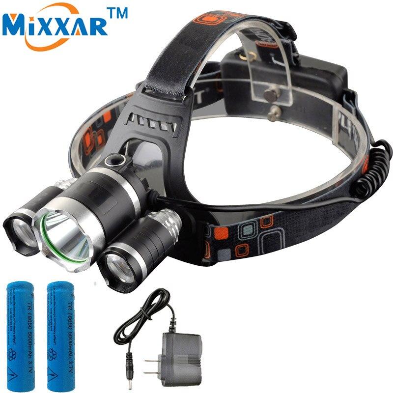 ZK40 <font><b>Best</b></font> T6+2*R5 11000 Lumen LED Headlamp 4 Modes Headlight Camping Hunting Head Light Lamp +2*18650 Battery + AC Charger