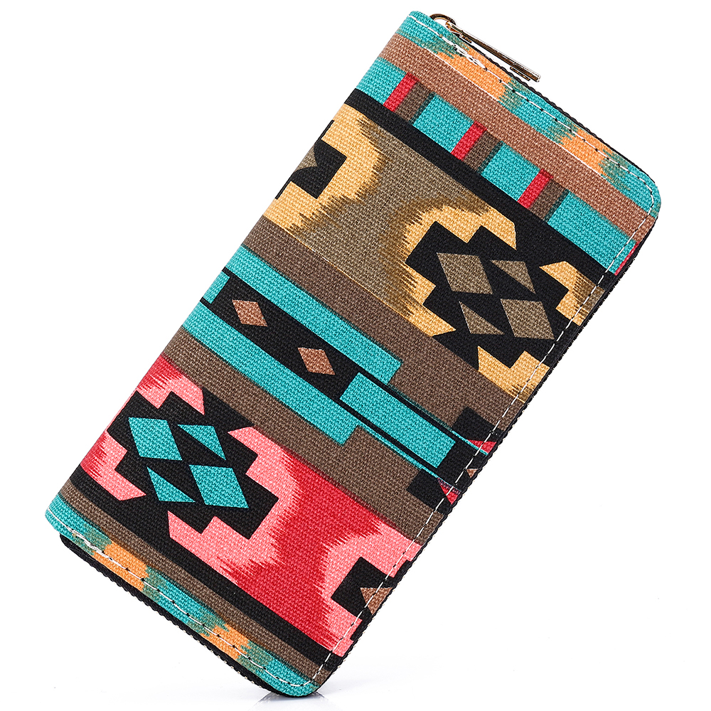 Sansarya New 2018 Bohemia Woven Boho Long Women Wallet Aztec Female Purse Ladies Tribal Card Holder Girls With Cupreous Zipper non woven fabrics hanging type 18 cd dvd card holder beige