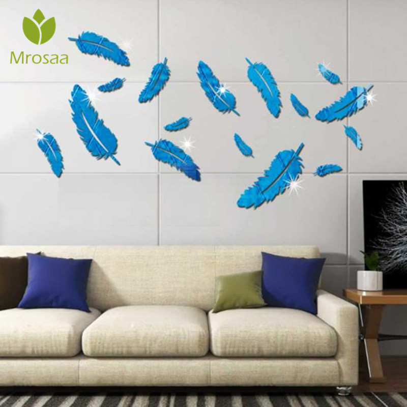 Mrosaa 3D Feather Silver DIY Mirror Wall Stickers Home Wall Bedroom Office Decor Removable Mural Wallpaper Art feather Decal