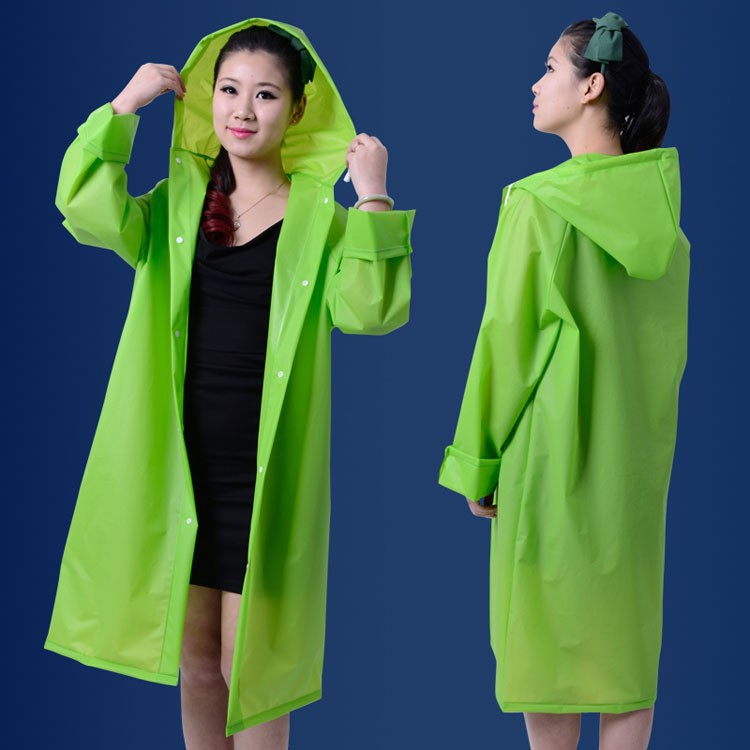 Over Knee Length Poncho Coat EVA Translucent Lovers Raincoat With Hood Waterproof Women Outdoor Rainwear,GIRL RAINCOAT,green