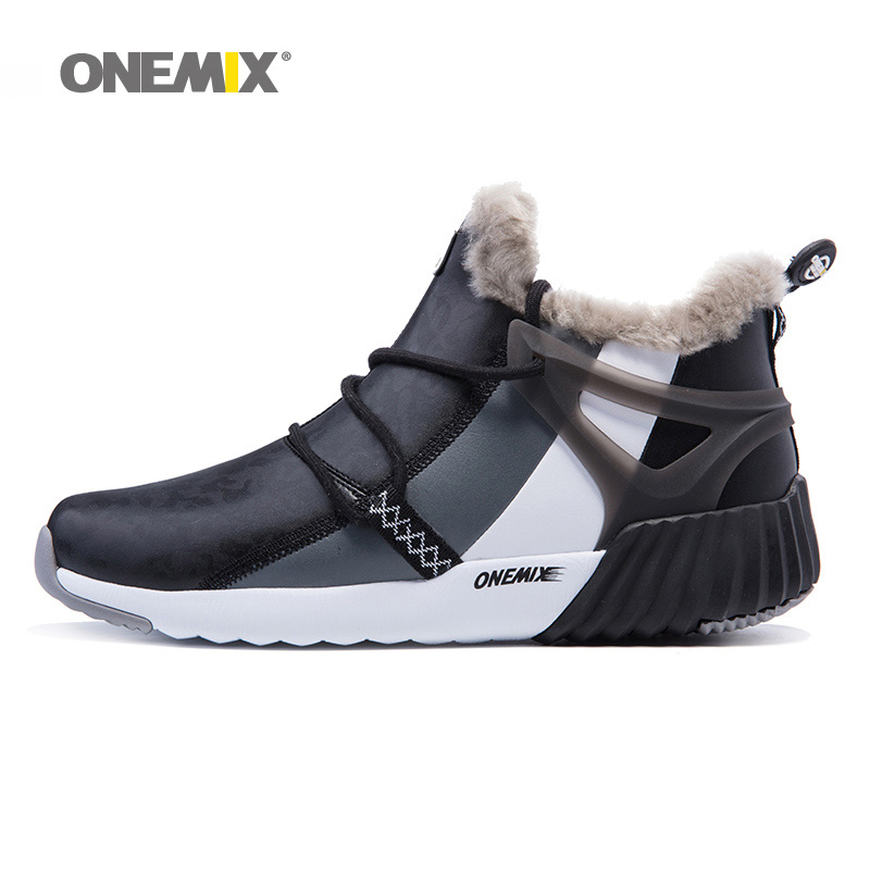 ONEMIX Men Warm Winter Boots for Women High Long Wool Running Shoes Black Sport Outdoor Trends Athletic Trainer Walking Sneakers