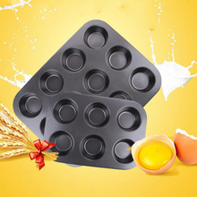 6/12 Cups Carbon Steel Egg Tart Baking Tray Cupcake Shaped Cake Pan Nonstick Cupcake Baking Tray 3D Cake Tools Hot