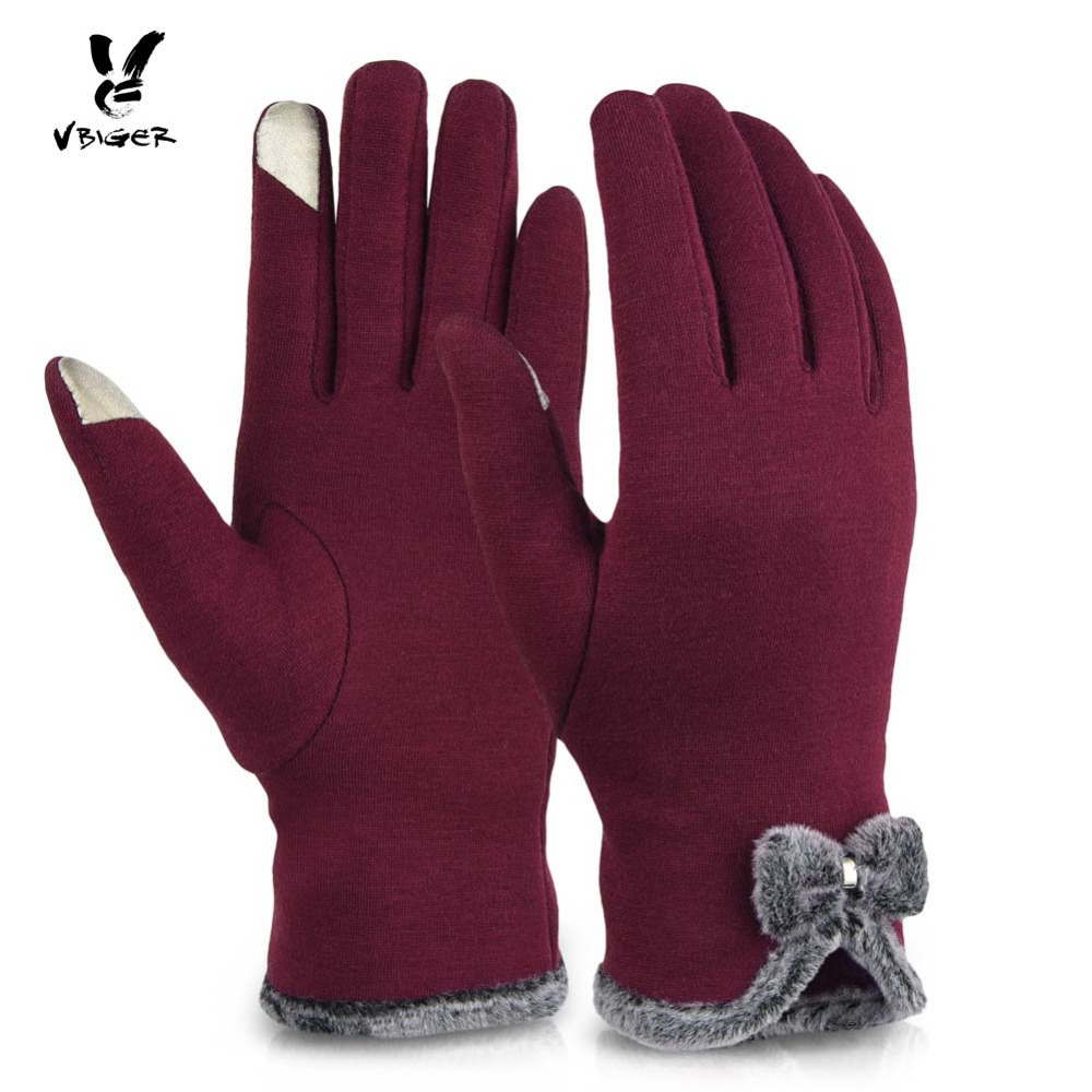 Vbiger Women Gloves Thick Touch Screen D
